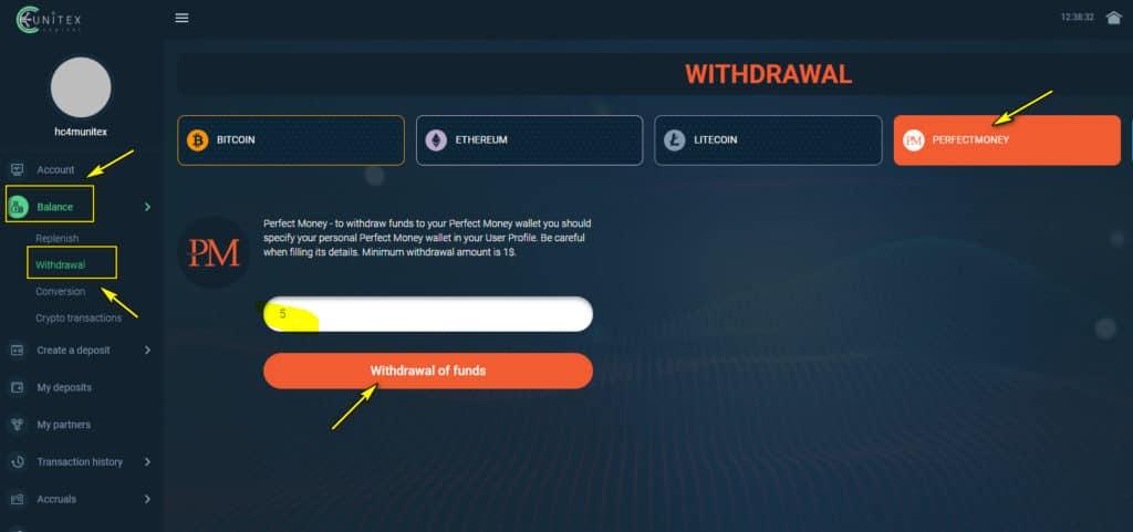 uc withdraw 1024x481 - [SCAM] Unitex Capital Review- HYIP: Dự án đầu tư dài hạn 2020, lợi nhuận 1.3%/ ngày