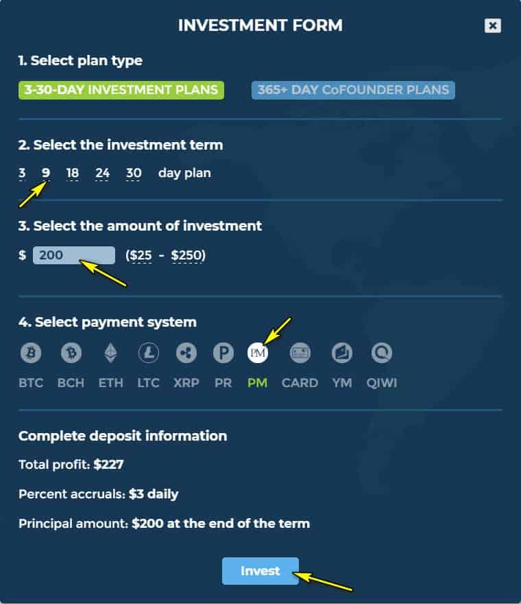 hl deposit 2 - [SCAM] Hex Land Review - HYIP: Lợi nhuận 1.5% hàng ngày trong 9 ngày, hoàn gốc cuối chu kì