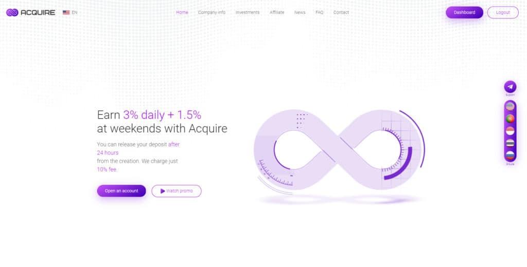 acquire review 1024x520 - [SCAM] Acquire Review - HYIP: Lợi nhuận 3% mỗi ngày làm việc, cho rút vốn sớm!