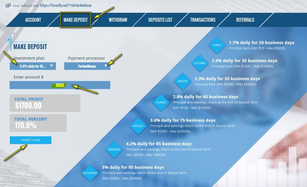 forex fly deposit 1024x624 - [SCAM] ForexFly Review - HYIP: Lợi nhuận 1.7% hàng ngày trong 20 ngày làm việc!