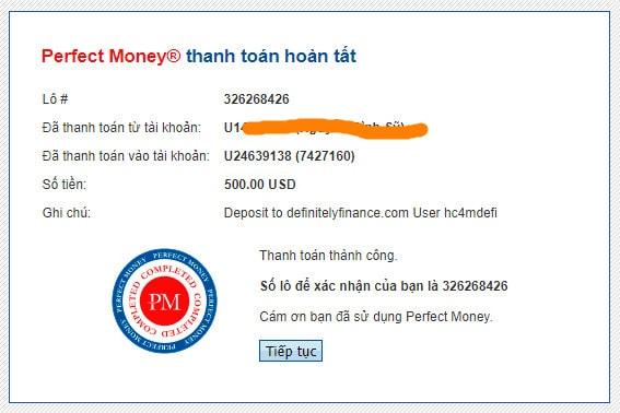 definitely finance payment proof - [SCAM] Definitely Finance Review - HYIP: Lợi nhuận 2.1% mỗi ngày trong 20 ngày!