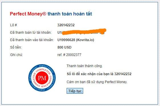 kovrita chain deposit - [SCAM] Kovrita: Dự án đến từ Quản trị viên huyền thoại, lãi trả theo giờ!