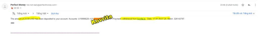 kovrita payment 1024x150 - [SCAM] Kovrita: Dự án đến từ Quản trị viên huyền thoại, lãi trả theo giờ!