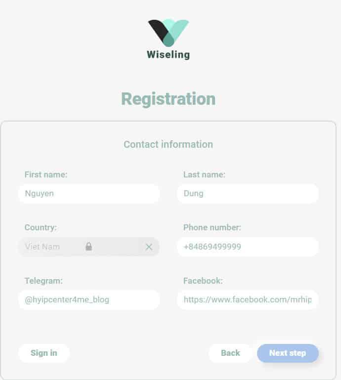 wiseling register account 2 - [SCAM - DỪNG ĐẦU TƯ] Wiseling là gì? Hướng dẫn đầu tư Wiseling với lợi nhuận hấp dẫn từ 0.8% mỗi ngày!