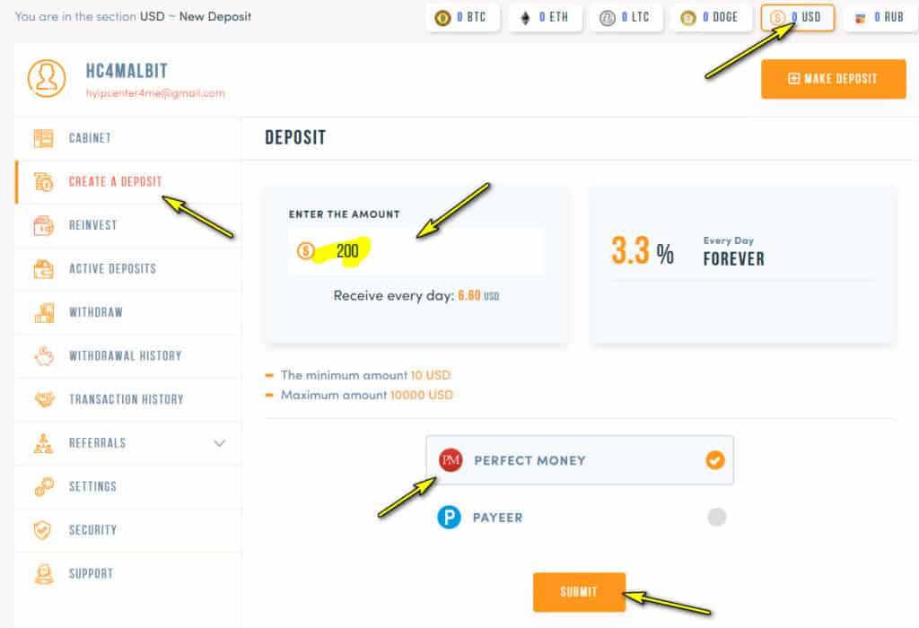 allbit trade deposit 1024x700 - [SCAM] Allbit Trade Review - HYIP: Lợi nhuận 3.3% mỗi ngày, nhận mãi mãi!