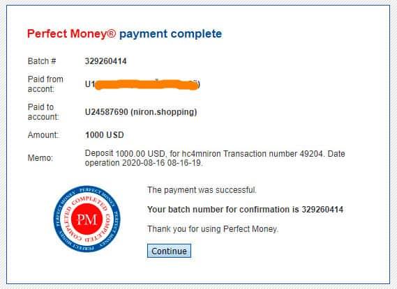 niron shopping payment proof - [SCAM] Niron Shopping: Dự án mua sắm bí ẩn, lợi nhuận từ 1.5% mỗi ngày!