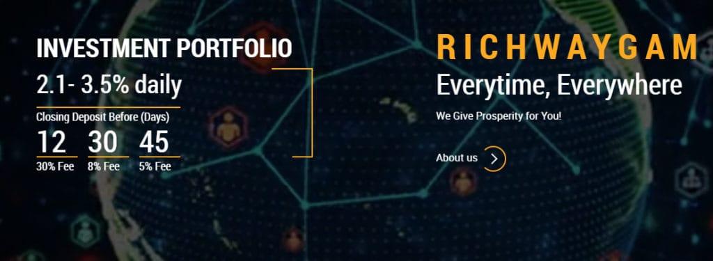 richway gam investment plans 1024x375 - [SCAM] Richway GAM Review - HYIP: Lợi nhuận từ 2.1% mỗi ngày, cho rút vốn bất kì!