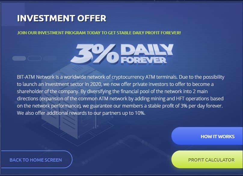 bit atm investment plan - [SCAM] BIT-ATM: Dự án đến từ Quản trị viên uy tín, lợi nhuận 3%/ngày và mãi mãi!
