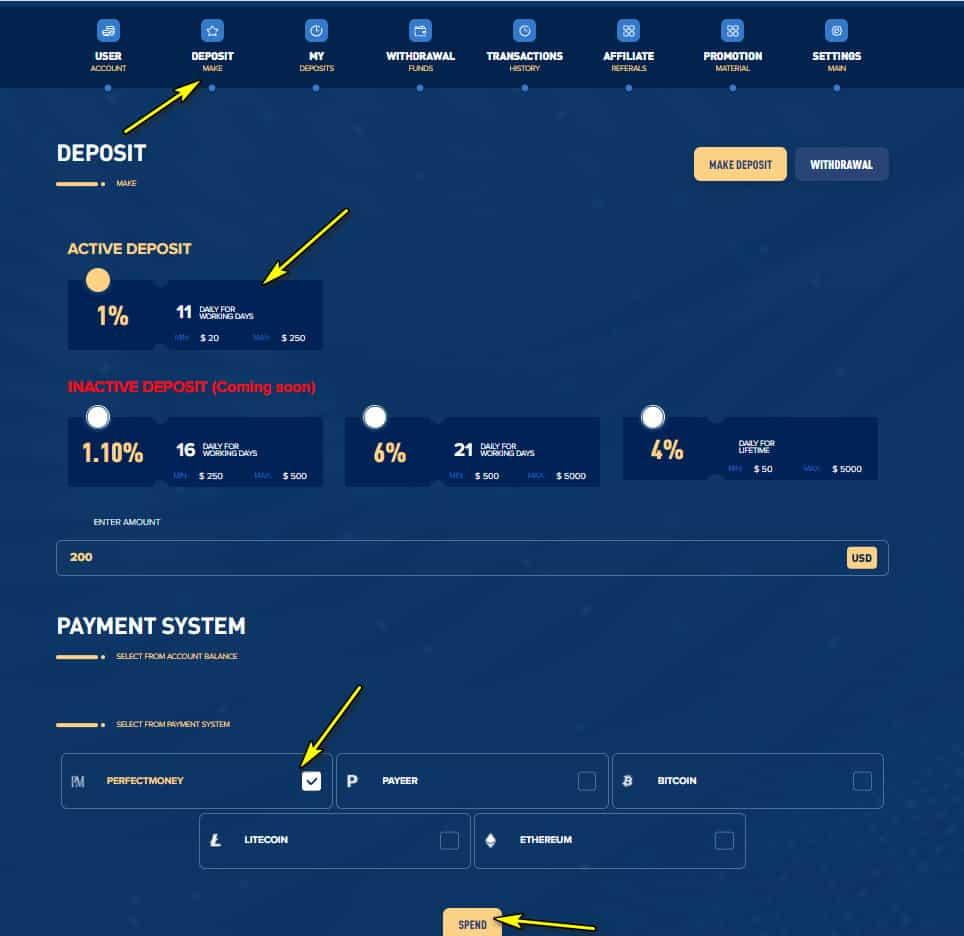 lighting profit deposit 1 - [SCAM] Lighting Profit: Lợi nhuận 1%/ ngày trong 11 ngày làm việc!