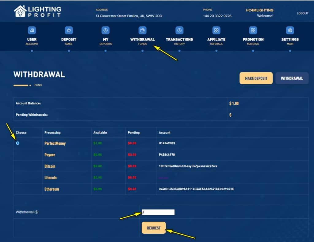 lighting profit withdraw 1024x788 - [SCAM] Lighting Profit: Lợi nhuận 1%/ ngày trong 11 ngày làm việc!