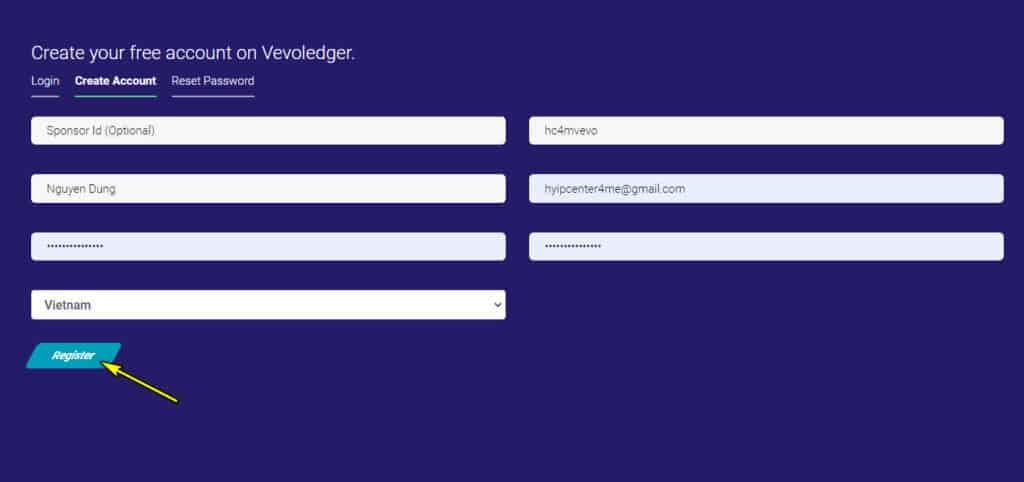vevo ledger register account 1024x482 - [SCAM] Vevo Ledger: Lợi nhuận 1.2% hàng ngày trong 15 ngày làm việc!
