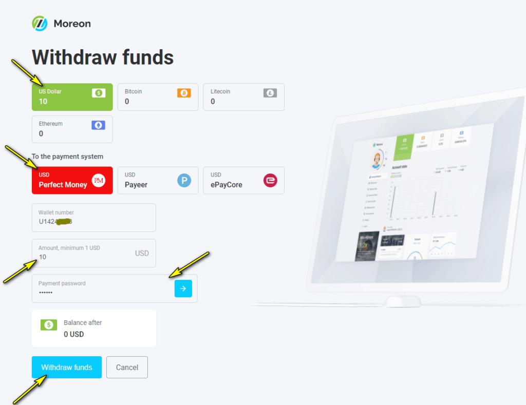 moreon withdraw funds 1024x789 - [SCAM - DỪNG ĐẦU TƯ] Moreon là gì? Đầu tư dài hạn cùng Moreon.io, lợi nhuận lên tới 2.5%/ngày!