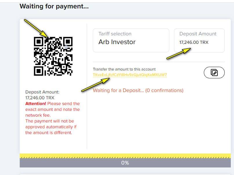 crypto arb deposit 2 - [SCAM - DỪNG ĐẦU TƯ] Crypto-ARB: Lợi nhuận từ 1.21% mỗi ngày. Cho rút vốn sớm sau 10 ngày!