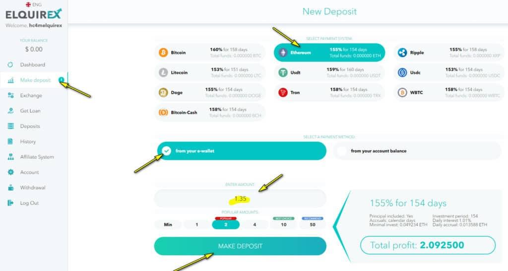 elquirex deposit 1 1024x547 - [SCAM - DỪNG ĐẦU TƯ] Elquirex là gì? Hướng dẫn đầu tư cùng Elquirex năm 2021