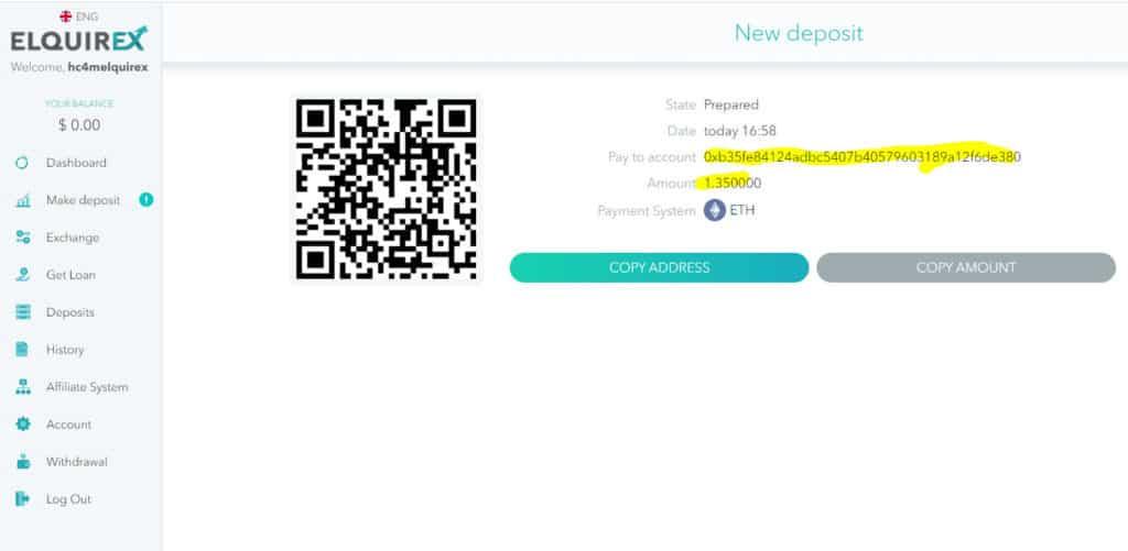 elquirex deposit 2 1024x501 - [SCAM - DỪNG ĐẦU TƯ] Elquirex là gì? Hướng dẫn đầu tư cùng Elquirex năm 2021