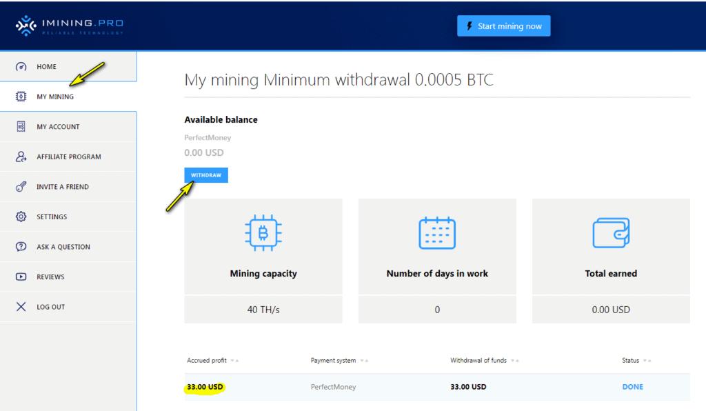 imining pro withdraw 1024x596 - [SCAM - DỪNG ĐẦU TƯ] iMining Pro: Dự án đầu tư hấp dẫn, lợi nhuận lên tới 2.5% mỗi ngày!