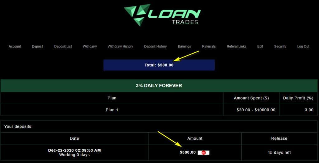 loan trades payment 1024x526 - [SCAM - DỪNG ĐẦU TƯ] Loan-Trades HYIP - REVIEW: Lợi nhuận 3% mỗi ngày, cho rút vốn sau 15 ngày!