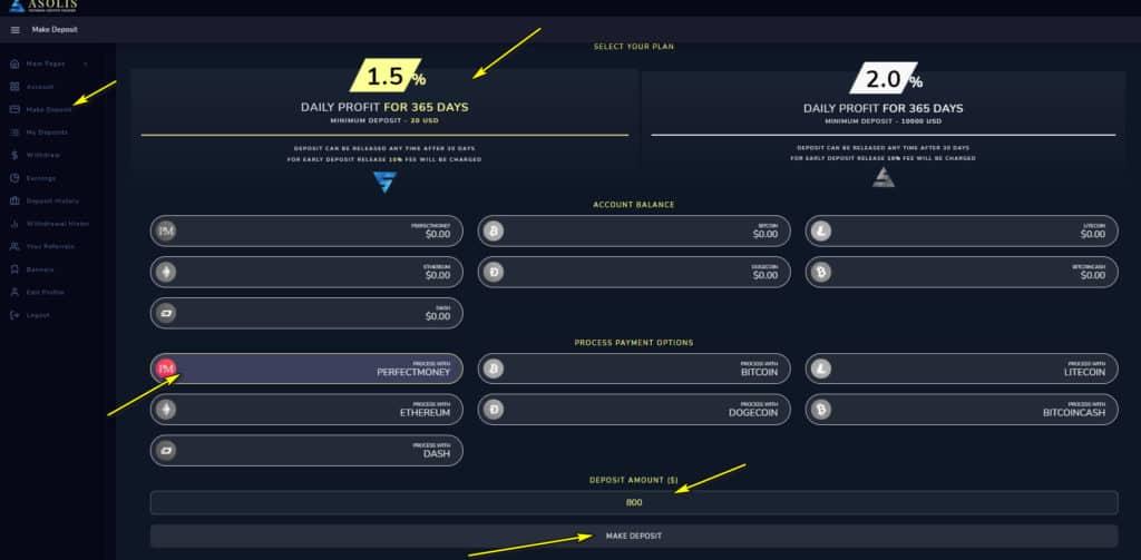 asolis deposit 1 1024x503 - [SCAM - DỪNG ĐẦU TƯ] Asolis: Lợi nhuận 1.5% mỗi ngày - mãi mãi, cho rút vốn sau 30 ngày!