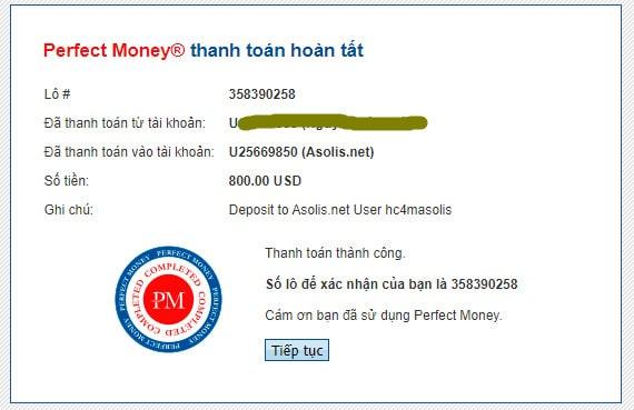 asolis payment deposit 1 - [SCAM - DỪNG ĐẦU TƯ] Asolis: Lợi nhuận 1.5% mỗi ngày - mãi mãi, cho rút vốn sau 30 ngày!