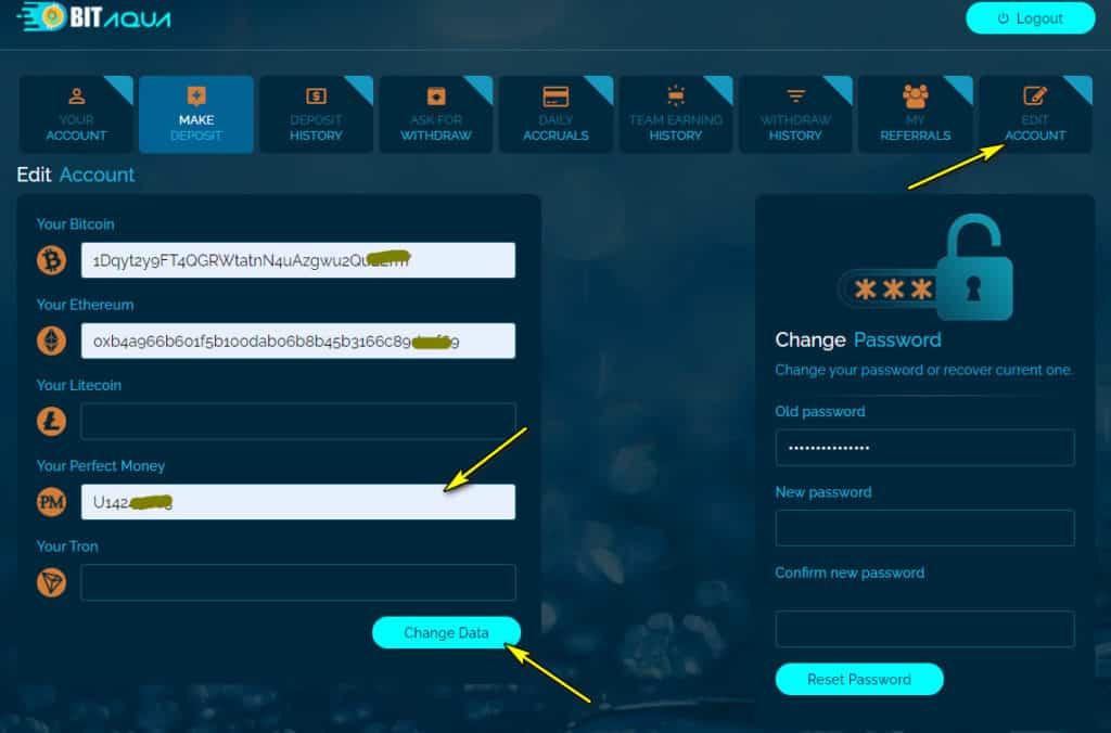 bitaqua add wallet 1024x676 - [SCAM - DỪNG ĐẦU TƯ] Bit Aqua: Lợi nhuận lên tới 5% mỗi ngày trong 30 ngày!