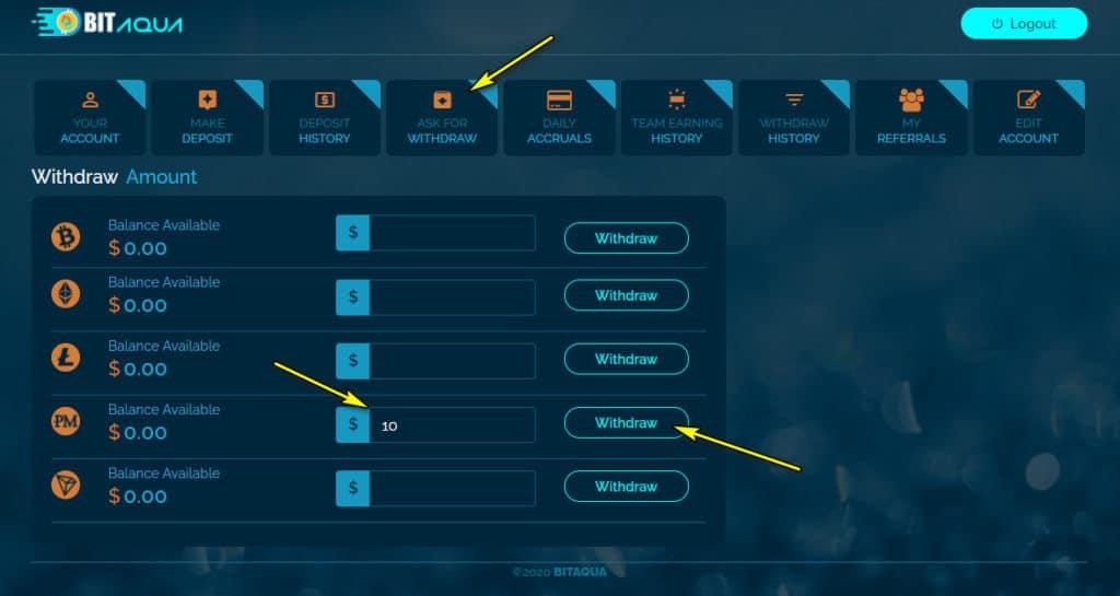 bitaqua withdraw 1024x545 - [SCAM - DỪNG ĐẦU TƯ] Bit Aqua: Lợi nhuận lên tới 5% mỗi ngày trong 30 ngày!