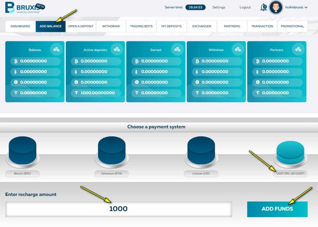 bruxis add funds 1024x729 - Bruxis là gì? Hướng dẫn đầu tư nhận 30% mỗi tháng cùng Bruxis