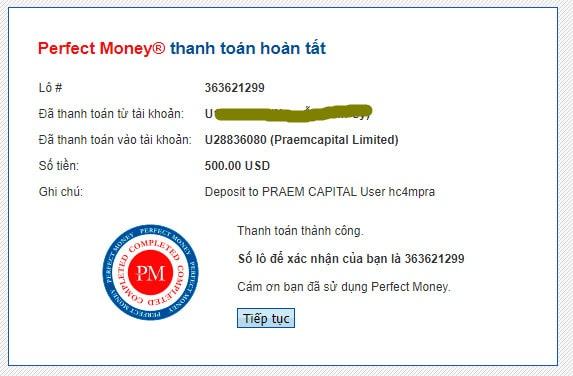 praemcapital payment - [SCAM - DỪNG ĐẦU TƯ] Praem Capital: Lợi nhuận 4% hàng ngày và mãi mãi