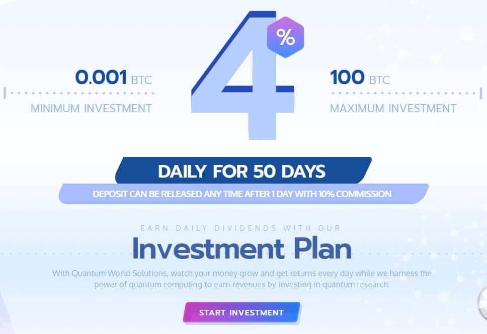 quantum world investment plan - [SCAM - DỪNG ĐẦU TƯ] Quantum World: Lợi nhuận 4% mỗi ngày, rút vốn sau 24 giờ!