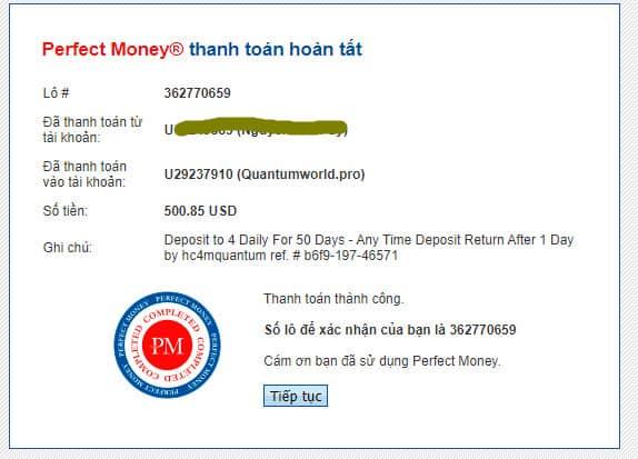 quantum world payment - [SCAM - DỪNG ĐẦU TƯ] Quantum World: Lợi nhuận 4% mỗi ngày, rút vốn sau 24 giờ!