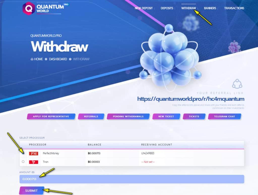 quantum world withdraw 1024x774 - [SCAM - DỪNG ĐẦU TƯ] Quantum World: Lợi nhuận 4% mỗi ngày, rút vốn sau 24 giờ!