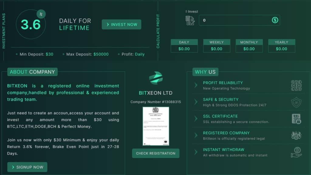 bitxeon investment plan 1024x578 - [SCAM - DỪNG ĐẦU TƯ] BitXeon: Lợi nhuận 3.6% mỗi ngày và mãi mãi