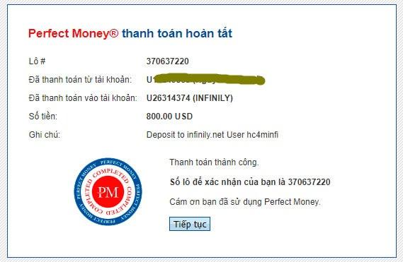 infinily payment proof - [SCAM - DỪNG ĐẦU TƯ] Infinily: Lợi nhuận 4%/ ngày trong 50 ngày, rút vốn bất kì với phí -20%