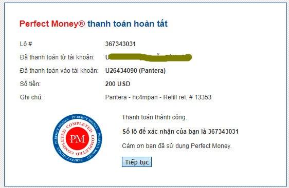 pantera payment prood - [SCAM - DỪNG ĐẦU TƯ] Pantera AI: Lợi nhuận lên tới 3.6%/ ngày, thanh toán tức thì