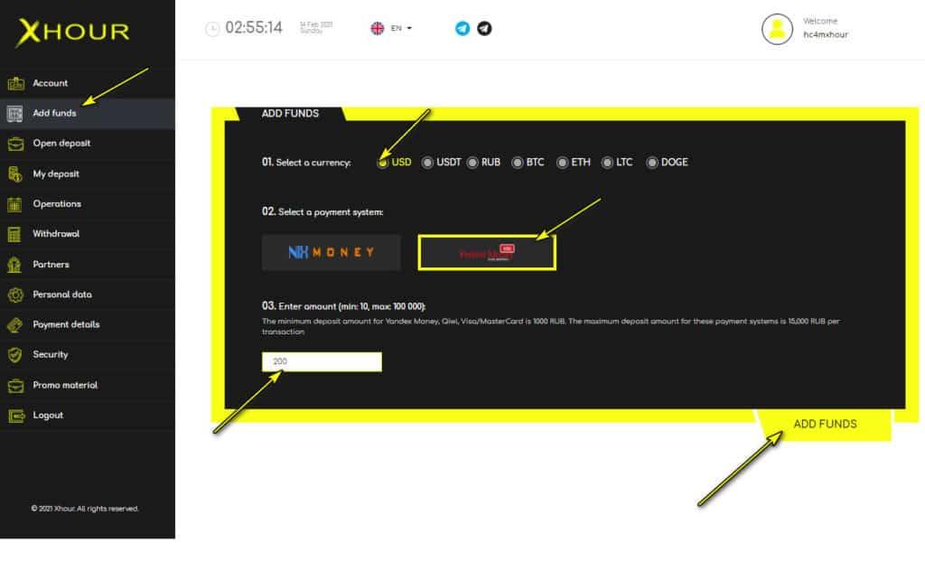 xhour add funds 1024x632 - [SCAM - DỪNG ĐẦU TƯ] XHour: Lợi nhuận 3% hàng ngày trong 5 ngày!