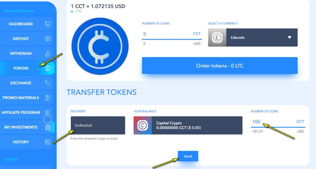 capital c send token 1024x547 - [SCAM - DỪNG ĐẦU TƯ] Capital C: Lợi nhuận lên đến 3.28%/ngày - mãi mãi