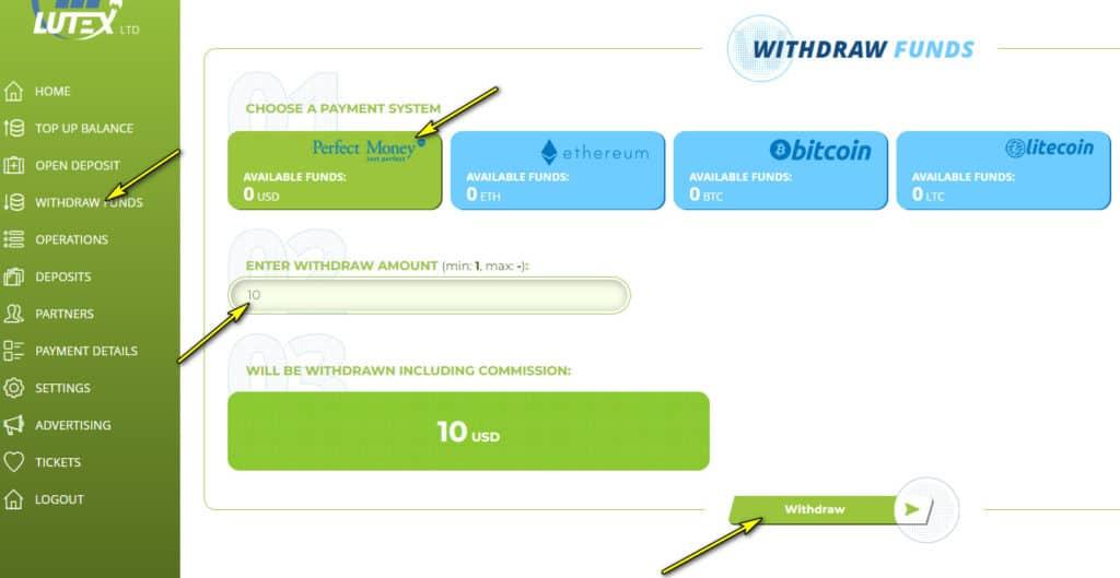 lutex withdraw 1024x529 - Lutex là gì? Hướng dẫn tham gia đầu tư Lutex
