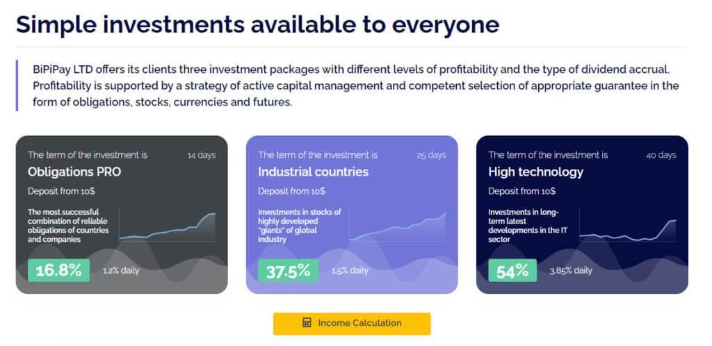 bipipay investment plans 1024x498 - [SCAM - DỪNG ĐẦU TƯ] Bipipay: Lợi nhuận 3.85%/ ngày trong 40 ngày. Hoàn trả 3% tiền gửi + bảo hiểm 1,000$