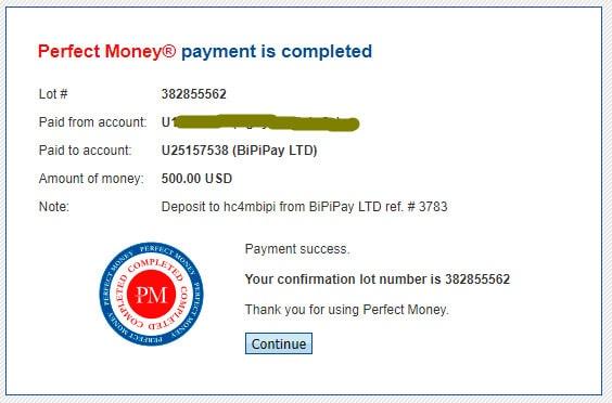 bipipay payment proof - [SCAM - DỪNG ĐẦU TƯ] Bipipay: Lợi nhuận 3.85%/ ngày trong 40 ngày. Hoàn trả 3% tiền gửi + bảo hiểm 1,000$