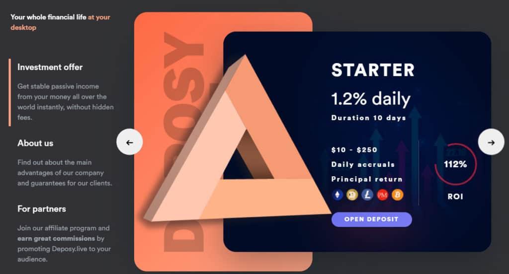 deposy investment plans 1024x552 - [SCAM - DỪNG ĐẦU TƯ] Deposy: Đánh giá dự án Deposy.live, lợi nhuận từ 1.2%/ ngày!
