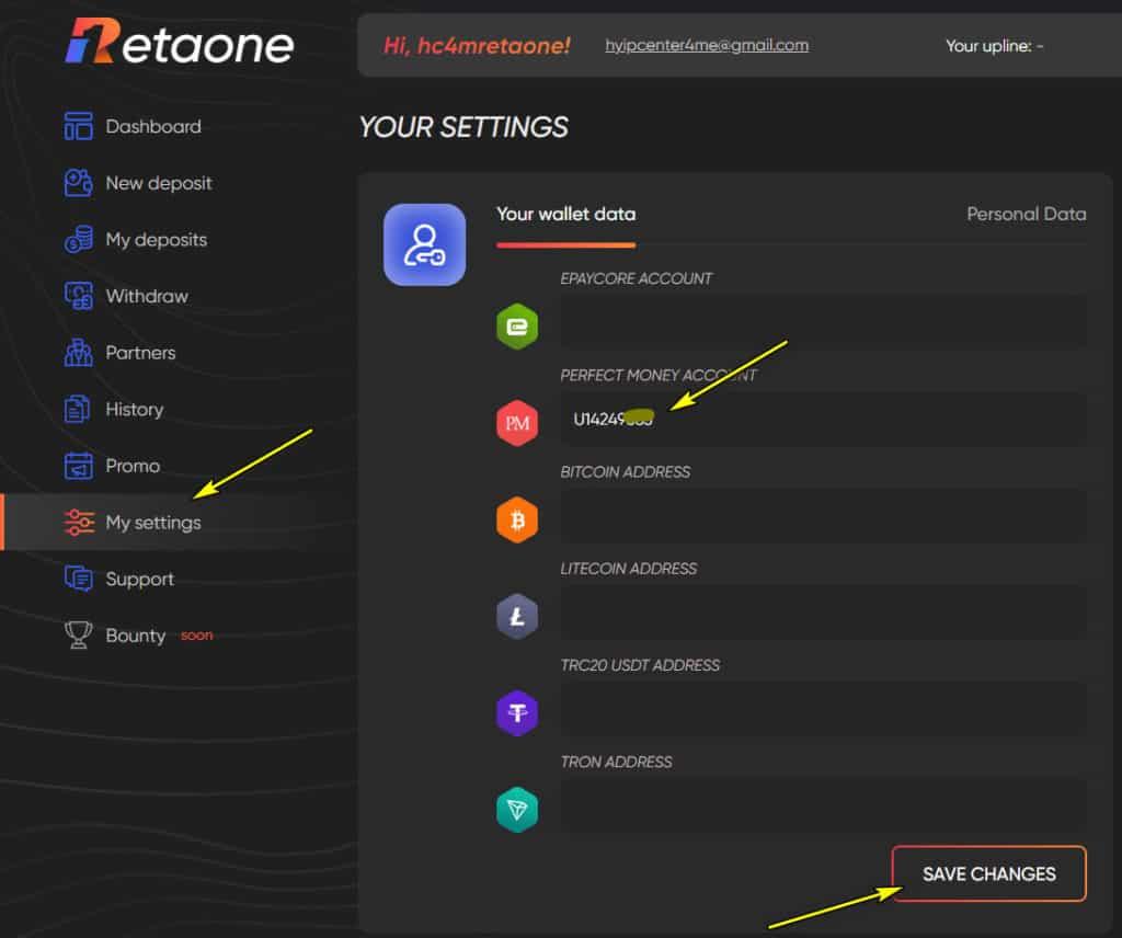 retaone add wallet 1024x856 - Retaone: Lợi nhuận 4%/ ngày trong 30 ngày, rút vốn bất kì với phí -10%
