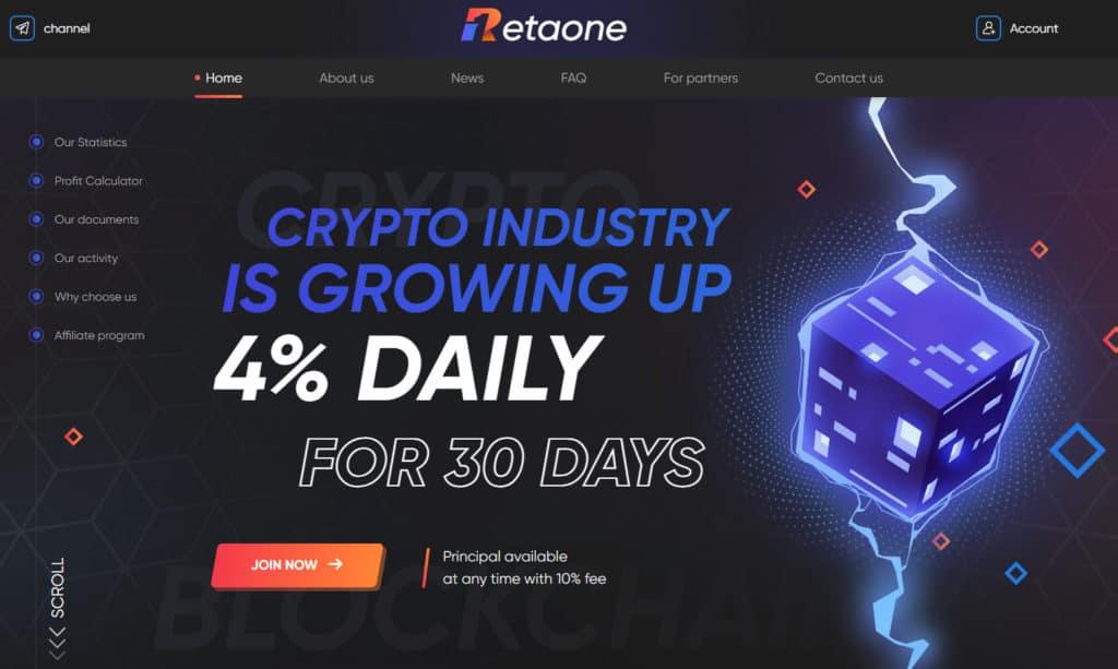 retaone review 1024x613 - Retaone: Lợi nhuận 4%/ ngày trong 30 ngày, rút vốn bất kì với phí -10%