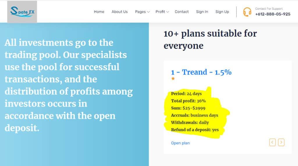 spate fx investment plans 1024x570 - [SCAM - DỪNG ĐẦU TƯ] Spate FX: Dự án đầu tư hấp dẫn, lợi nhuận từ 1.5%/ngày