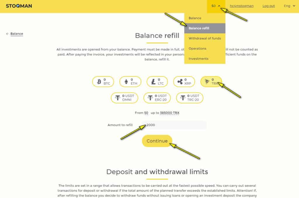 stoqman add funds 1024x677 - Stoqman: Dự án cho vay P2P, lợi nhuận lên tới 1.9%/ngày