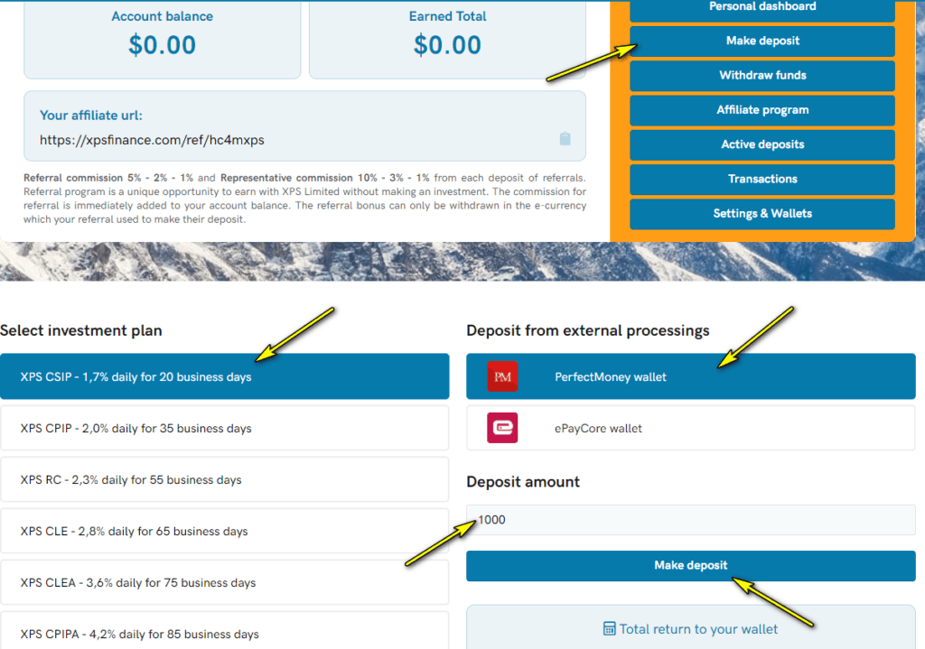 xps finance deposit 1024x719 - XPS Finance: Dự án đầu tư hấp dẫn, lợi nhuận lên tới 2.3%/ ngày. Bảo hiểm 2,000$