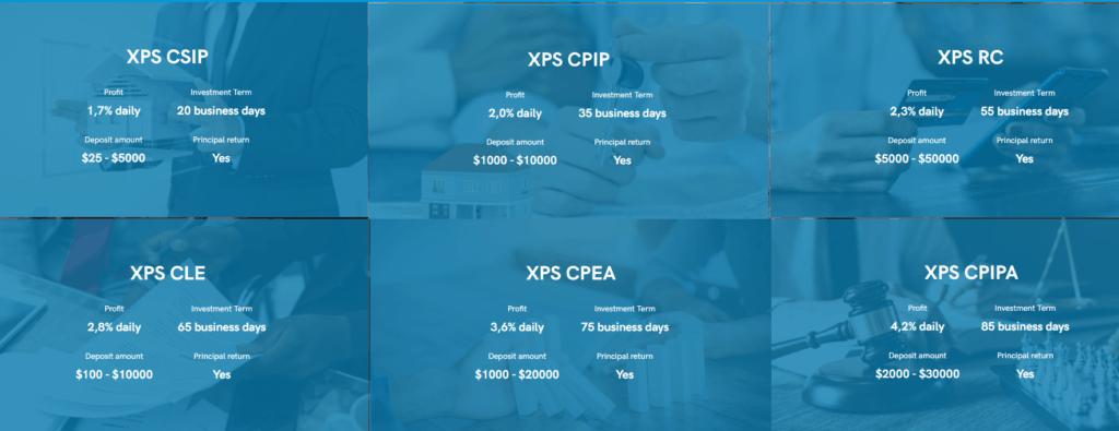 xps finance investment plans 1024x395 - XPS Finance: Dự án đầu tư hấp dẫn, lợi nhuận lên tới 2.3%/ ngày. Bảo hiểm 2,000$