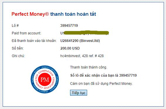 binvest payment - [NGỪNG PHÁT TRIỂN] BInvest: Lợi nhuận lên tới 3.5%/ ngày trong 1 năm!