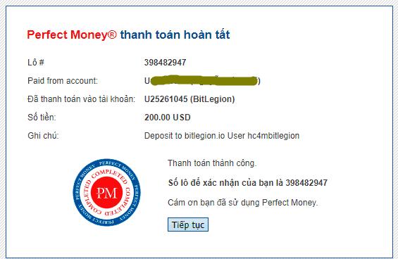 bitlegion payment - [SCAM - DỪNG ĐẦU TƯ] Bitlegion.io: Lợi nhuận 2% mỗi ngày trong 15 ngày, hoàn gốc cuối chu kì