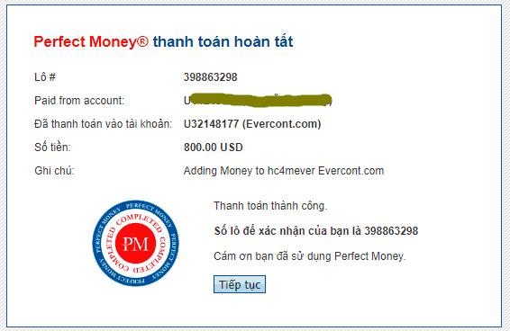evercont payment 1 - [SCAM - DỪNG ĐẦU TƯ] Evercont: Dự án đầu tư hấp dẫn, lợi nhuận lên tới 3.1%/ ngày!