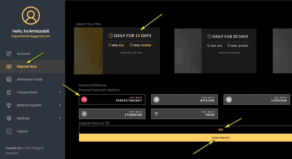 tazobit deposit 1024x558 - [SCAM - DỪNG ĐẦU TƯ] Tazobit: Lợi nhuận 1.1%- 3% mỗi ngày, hoàn trả 5% tiền gửi!