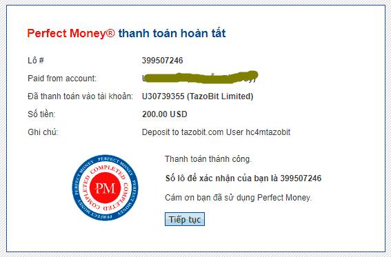 tazobit payment - [SCAM - DỪNG ĐẦU TƯ] Tazobit: Lợi nhuận 1.1%- 3% mỗi ngày, hoàn trả 5% tiền gửi!